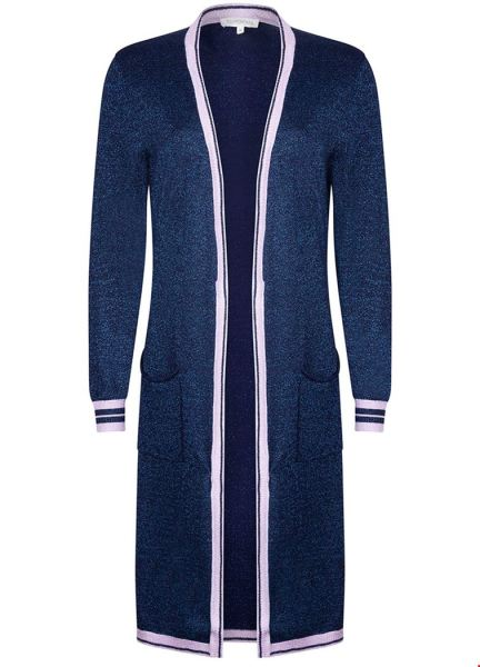 Cardigan Lurex Striped Rib blauw