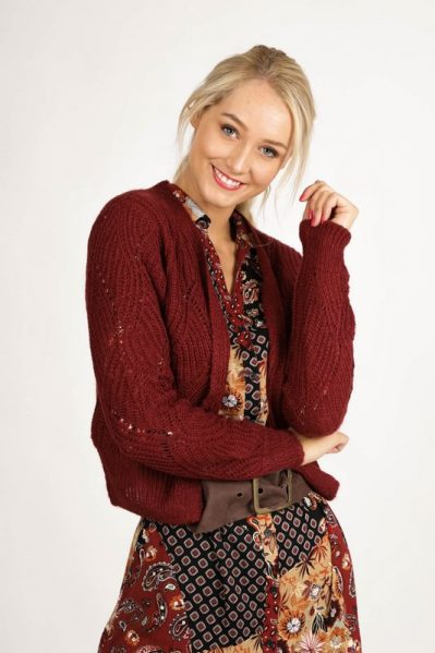 Cardigan Mohair bordeauxrood