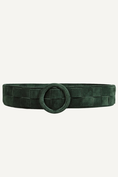 Army vlecht suede ronde gesp  army