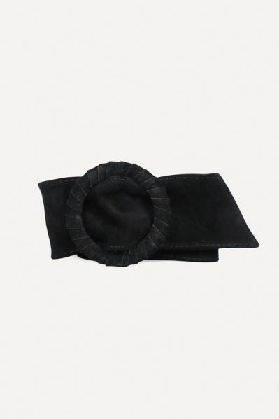 Zwart ronde gesp suede  zwart
