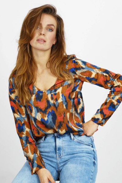 VIJOLIE MINDA V-NECK L/S TOP/L multi