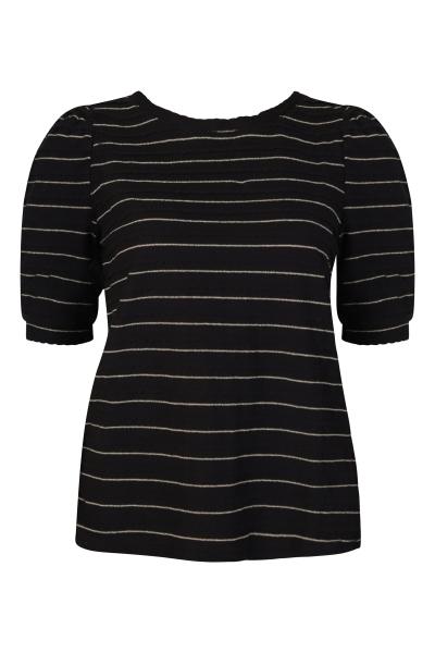 VIELASTIC O-NECK T-SHIRT zwart/wit