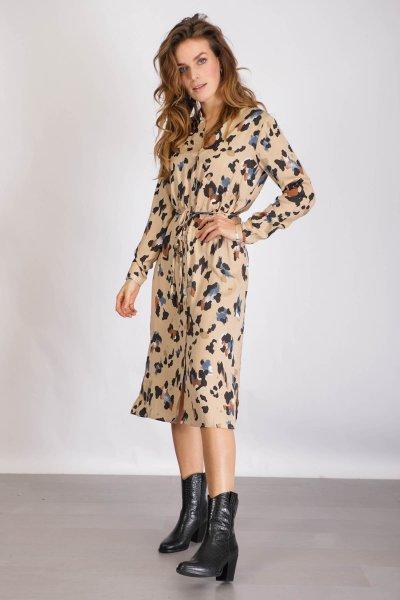 VICAVA LIOAN L/S SHIRT DRESS/L zand
