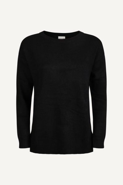 VIRIL HIGH LOW L/S KNIT TOP - NOOS zwart