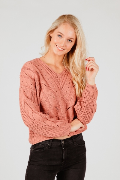 VINORALA L/S KNIT TOP peach