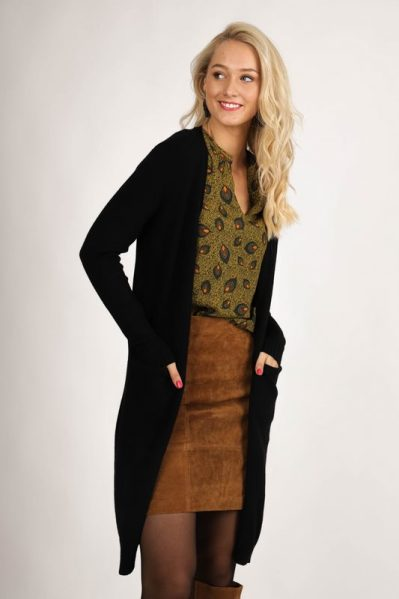 VIRIL L/S LONG KNIT CARDIGAN-NOOS zwart