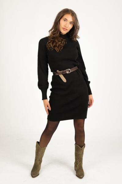 Brei jurk kol + wijde mouw  zwart