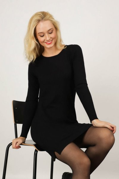 Uni zwart trui/jurk  zwart