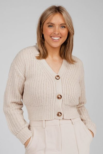 cropped cardigan with fake horn buttons beige