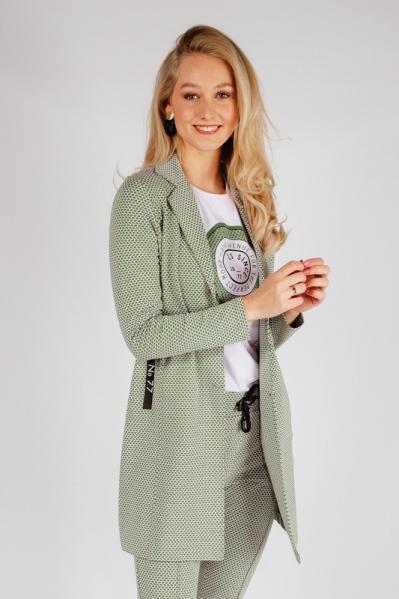 Lange sweat blazer groen/wit  army