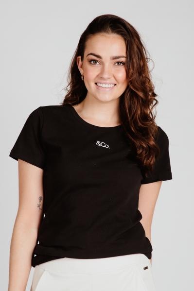 &Co Woman Shirt / Top Zwart Logo T-Shirt