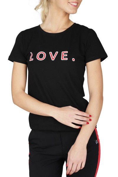 &Co Woman Shirt / Top Zwart T-Shirt Love