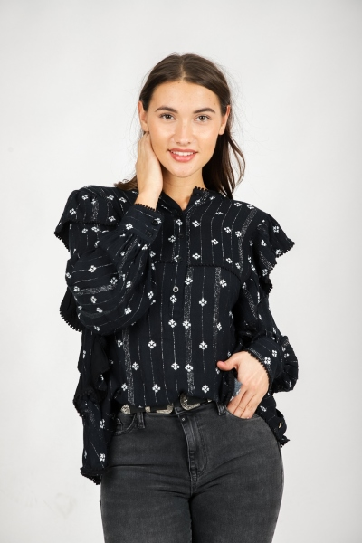 Colourful Rebel Blouse Zwart Rumi Flower