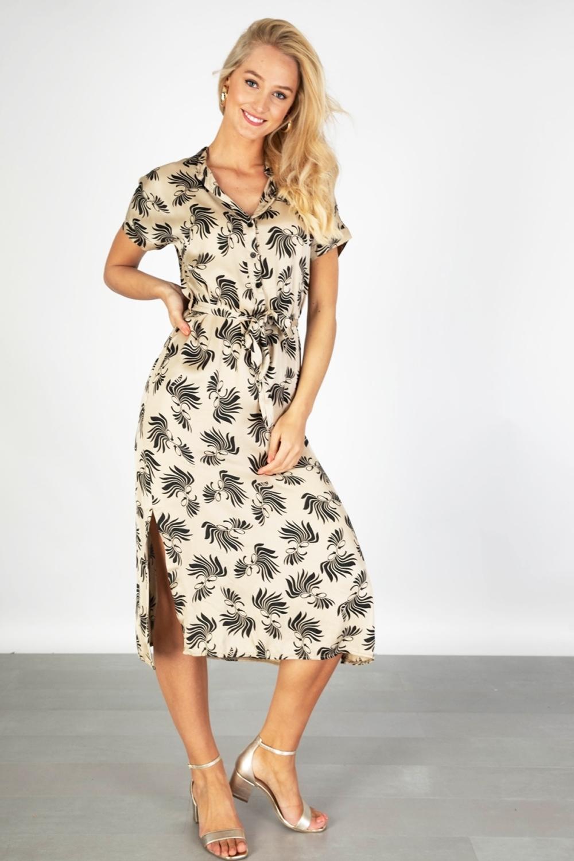 AAIKO Midi-jurken Antraciet ALETTA GRAPHIC