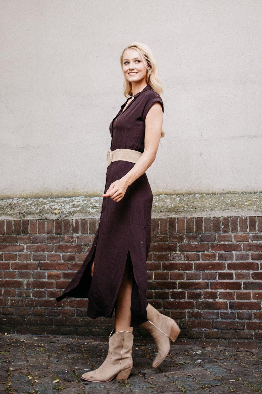 AAIKO Midi-jurken Zand VALKA VIS 531