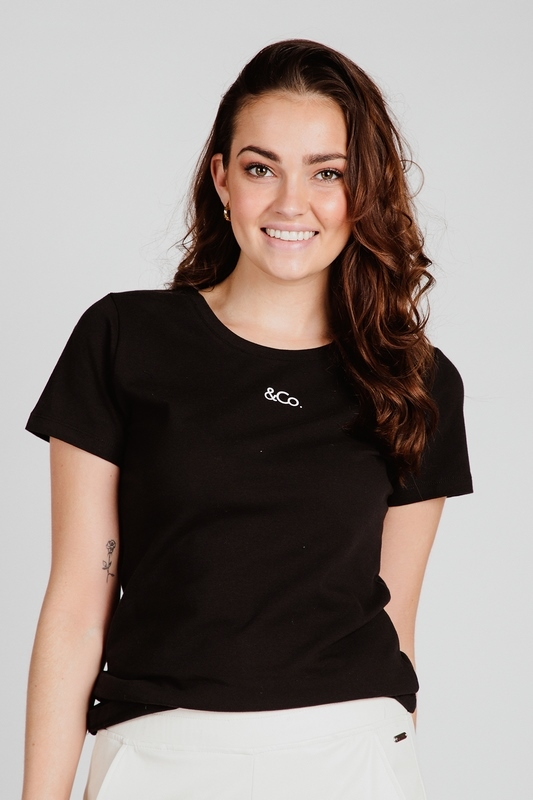 &Co Woman Shirt / Top Zwart Logo T-Shirt