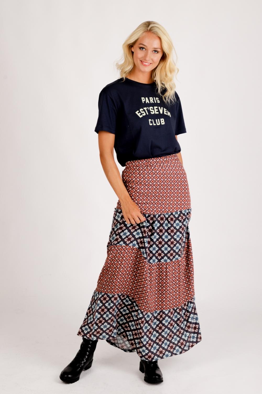 Est'seven Rok Multicolor Long Skirt Paris