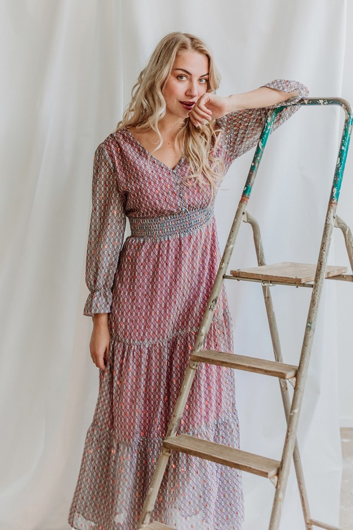 Femme9 Maxi-jurken Paars Geraldine