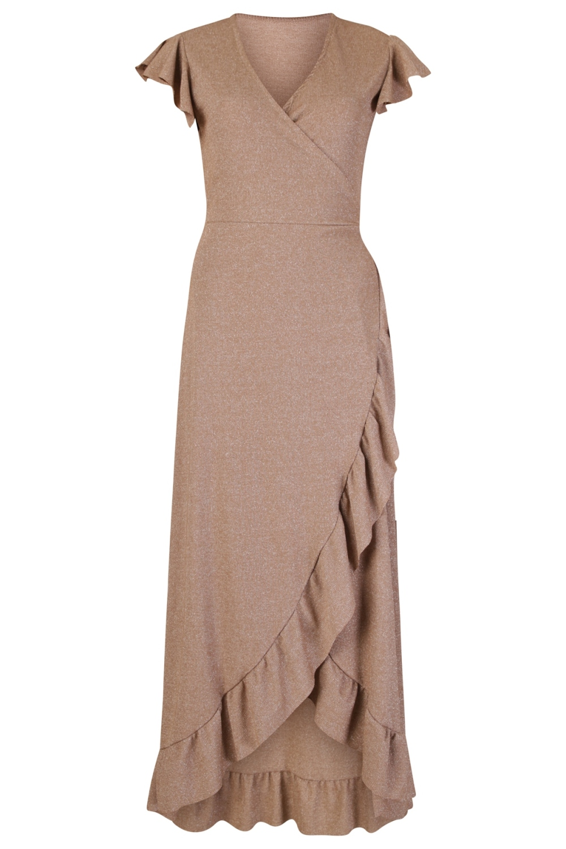 Le Ballon Maxi-jurken Brons Wrap dress lurex