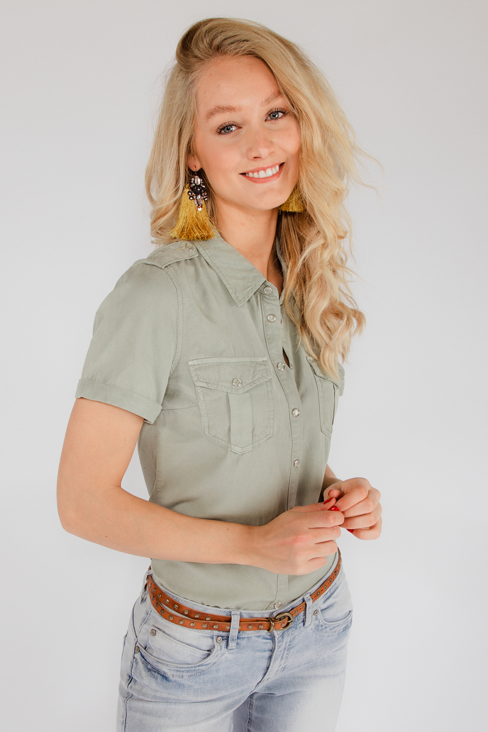 Red Button Blouse Blauw Dolly
