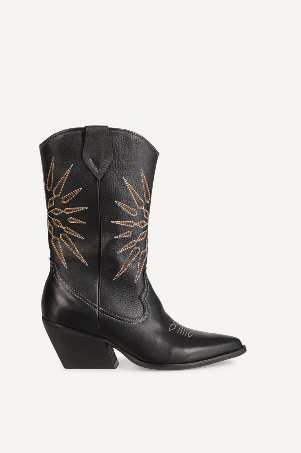 Shoecolate Cowboylaarzen Hak Zwart 8.20.08.090