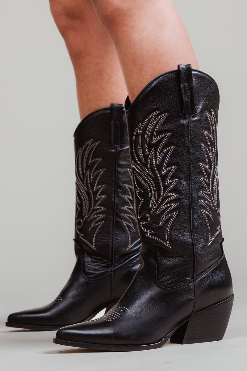 Shoecolate Cowboylaarzen Hak Zwart 8.20.08.709