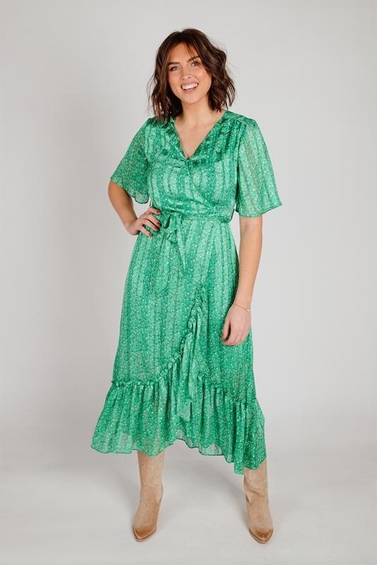 Smashed lemon Midi-jurken Groen 21058